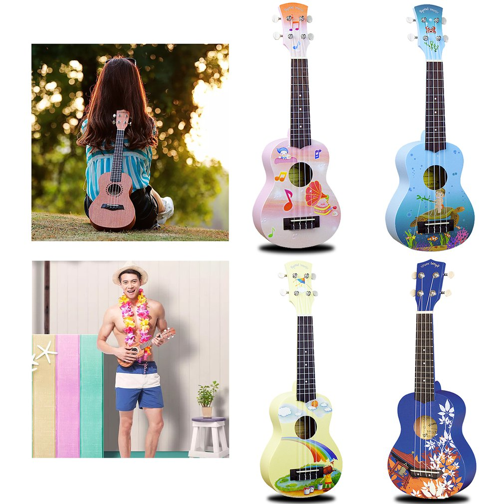2021 NEW Ukulele 21 Inch Hand-Painted Cartoon Pattern 4 Strings Uke Bass Stringed Musical Instrument Perfect For Beginners enlarge