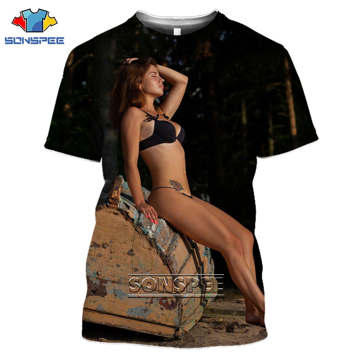 SONSPEE 3D Sexy Beauty Bikini Print T-shirt Summer Fitness Beach Otaku European And American Loose Printed Clothing