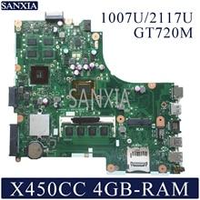 Kefu X450CC Scheda Madre Del Computer Portatile per Asus X450CC X450C Mainboard Originale 4GB-RAM 1007U/2117U GT720M