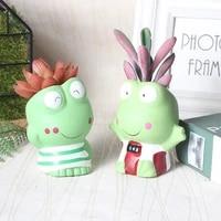 home garden resin frog flower pot decor glazed miniature model succulent planter cactus cute animal flowerpots decoration crafts