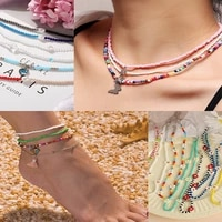 y2k style necklace anklet handmade beaded necklace for women colorful beads butterfly pearl color beaded stacking clavicle chain