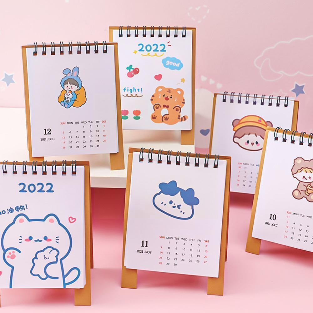 2022 Kawaii настольный календарь, план, блокнот, бумага, простой двойной план, стол, календарь, планировщик, годовой Органайзер, ежедневник C4E1