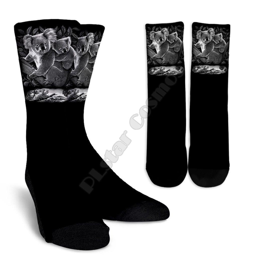 Австралийская семья коала, черно-белые короткие носки с 3D-принтом для мужчин и женщин, забавные носки, модные длинные носки