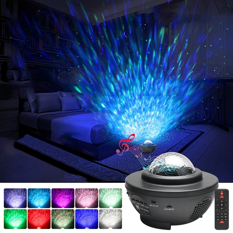 LED Star Night Light Lamp Starry Sky Projector Bluetooth Remote Control Music Box Player Water Wave Projector USB Rechargable