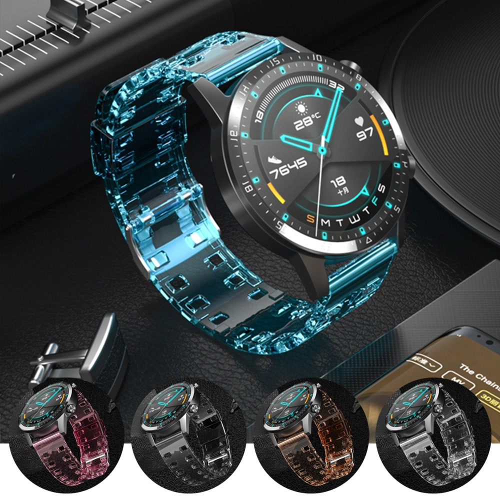 Translucent Silicone Strap For HUAWEI Watch GT 2 GT2 46mm 42mm Wrist Band for HONOR Magic Watch 2 MagicWatch Watchband Bracelet silicone leather watchband for huawei watch gt gt2 46 honor magic 2 46mm watch band wrist strap bracelet belt for ticwatch pro