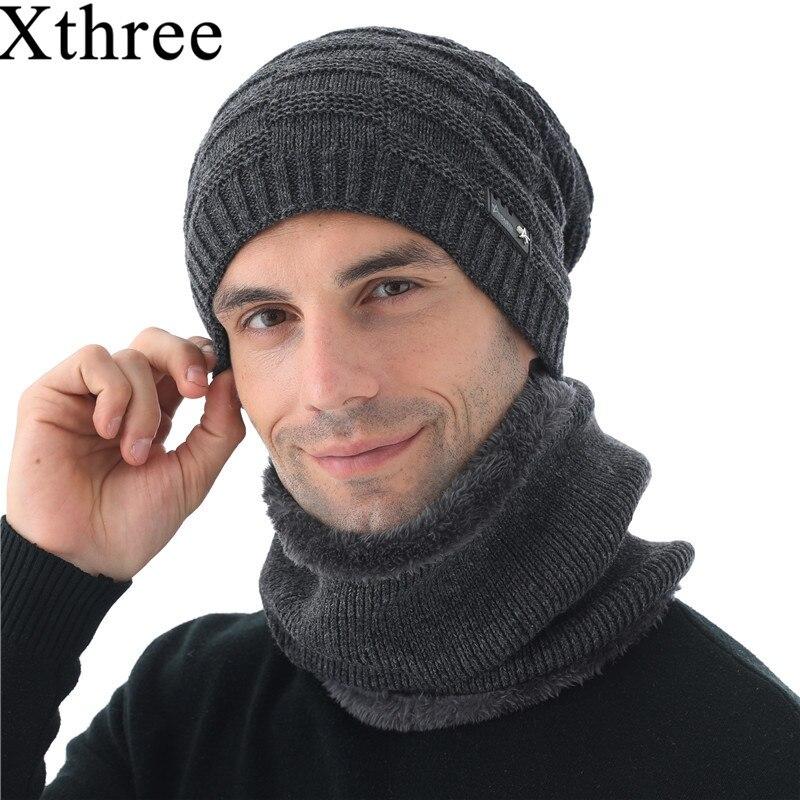 Xthree invierno Skullies sombrero lana gorros sombrero tejido bufanda con forro gorro masculino sombreros de invierno para hombres gorros sombreros