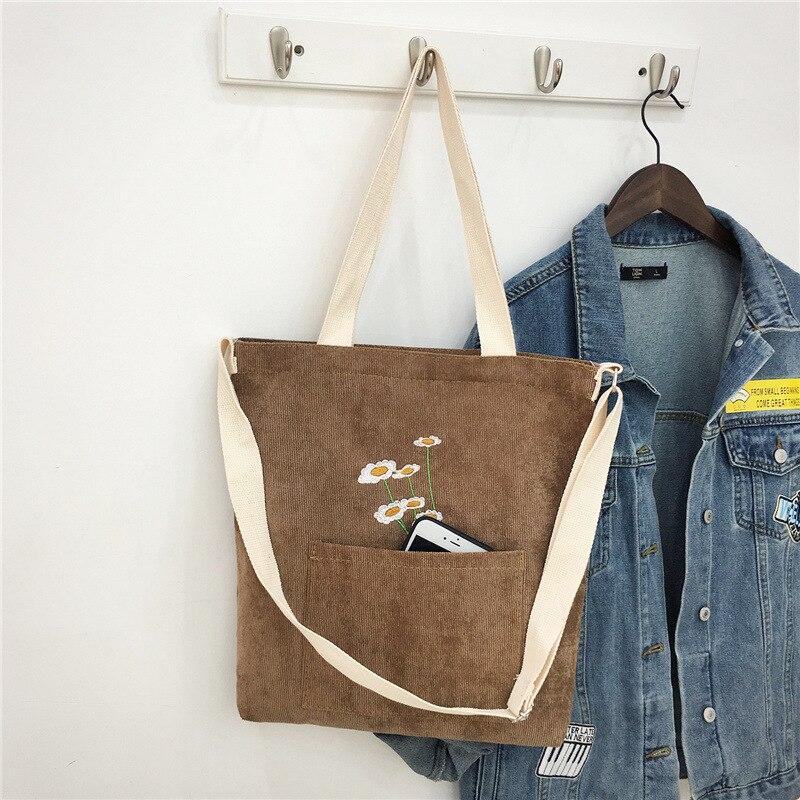 Women Corduroy Shoulder Bag Ladies Tote Foldable Shopping Bags Embroidery Female Handbag crossbody bags for women