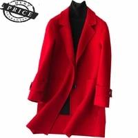 coat women wool 2021 winter long jacket elegant woolen jackets autumn ladies coats korean clothes casaco feminino lwla61