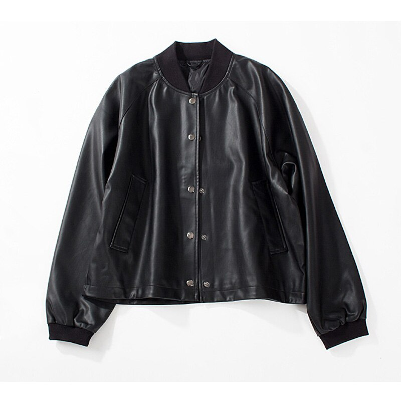 Black Red Faux Leather Jacket Women Autumn Short Soft Pu Leather Motorcycle Biker Jackets Zipper Loose Oversize Coat Outwear enlarge