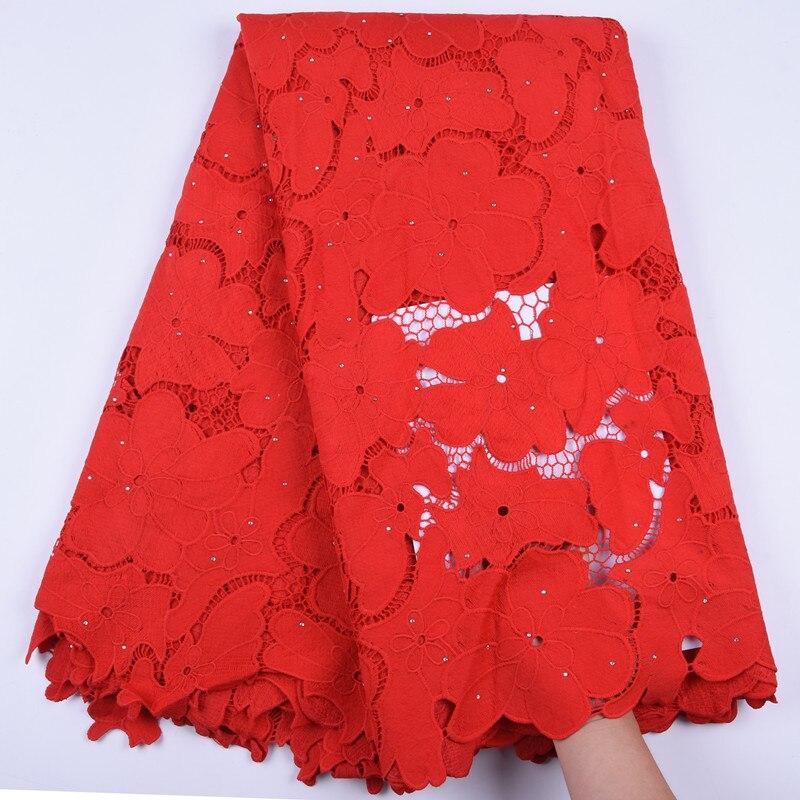 Estilo caliente africano Cordón de guipur tela de encaje blanco puro Red Nigeriana de tela de encaje con piedra para la boda de cada vestido F1696
