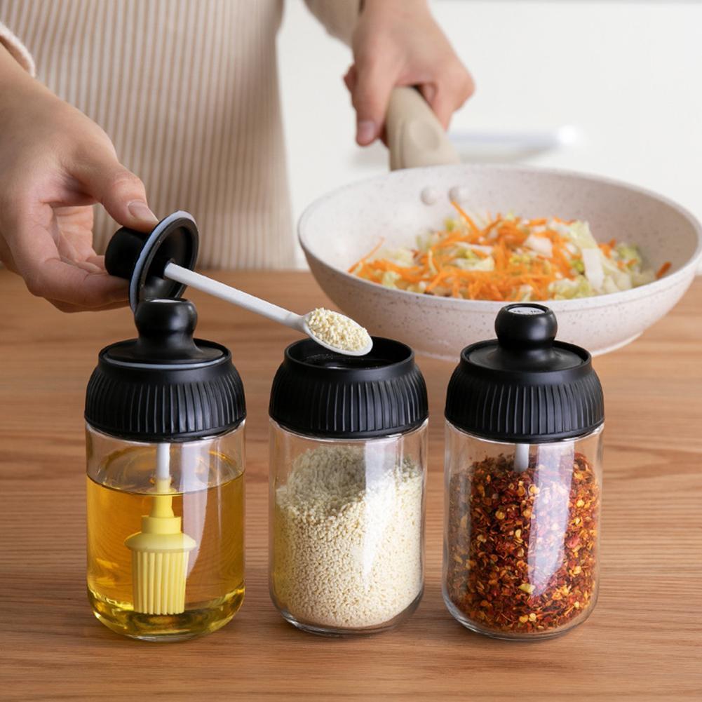 3 pièces bouteilles dépices brosse à huile miel couvercle joint assaisonnement cuillère pot cuisine Cruet