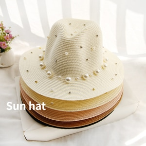 Summer Beach Straw Sun Visor Hats for Women ladies Panama Bucket Vintage Pearl Hat UV Protection Shade Cap Fashion Wholesale
