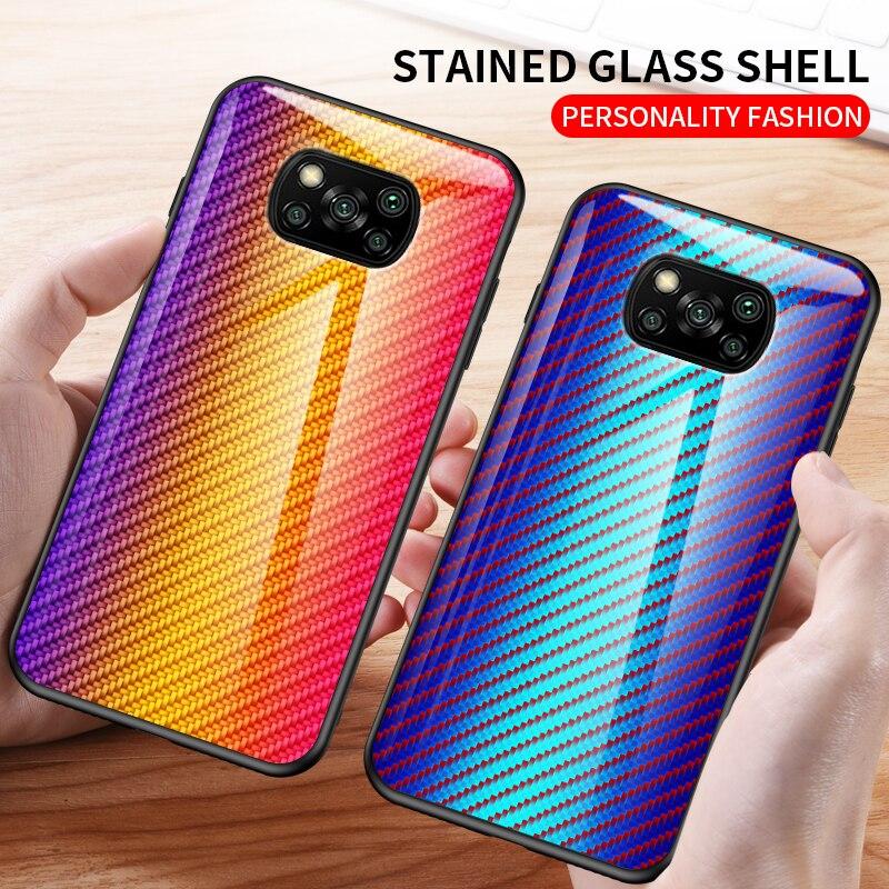 Para xiaomi poco x3 nfc caso de fibra carbono padrão vidro temperado capa do telefone para poco x3 nfc redmi nota 9 pro 9s9a 9c mi 10 lite