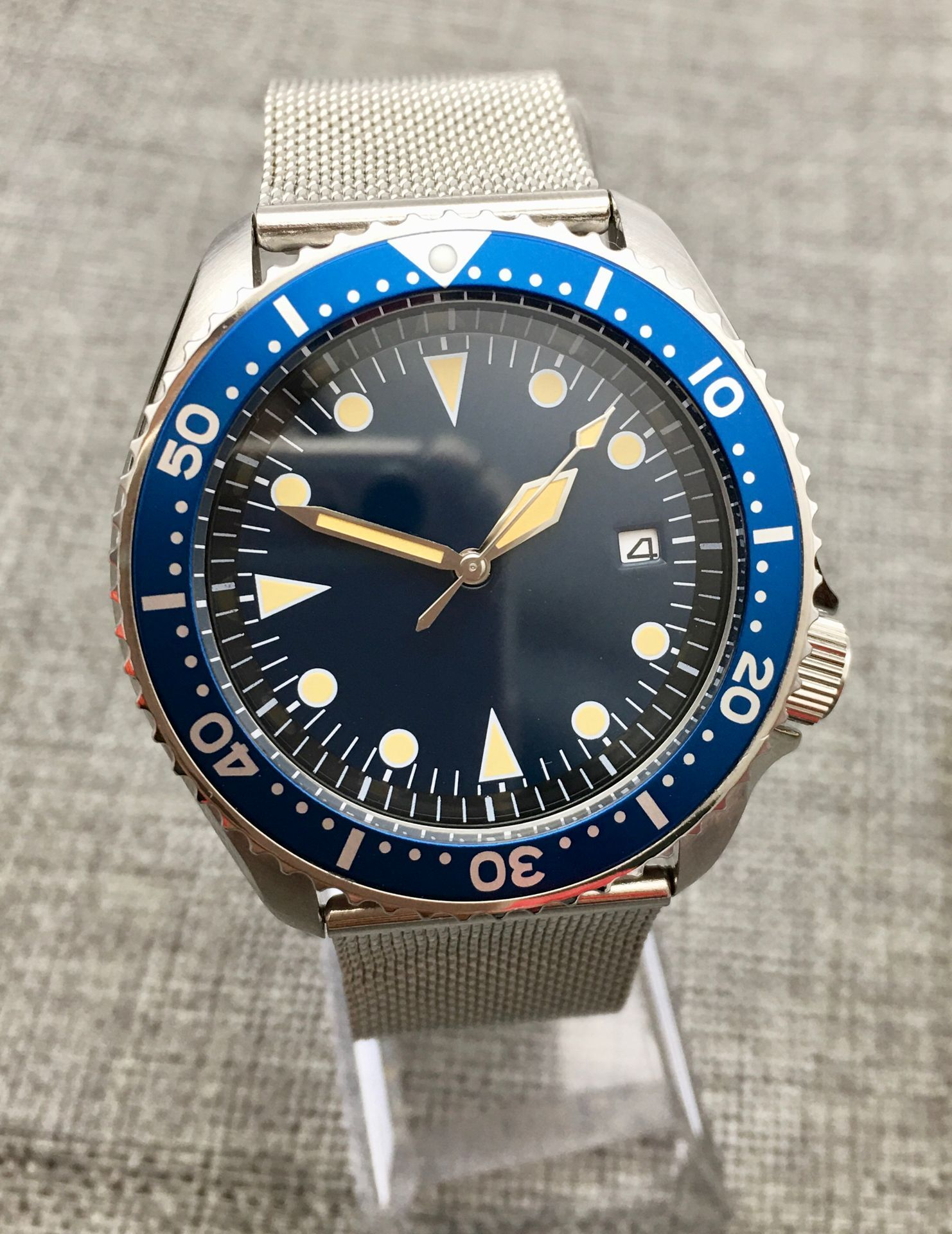 42MM SK007 Stainless Steel Case Japanese Movement NH35 Watch Mechanical Clock Luminous Blue Dial Automatic Men's Watch