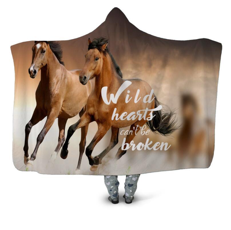Alant Horse-بطانية بغطاء للرأس مطبوعة ثلاثية الأبعاد ، سرير من الصوف الدافئ يمكن ارتداؤها ، ألحفة مكتب ناعمة للبالغين ، سفر 03