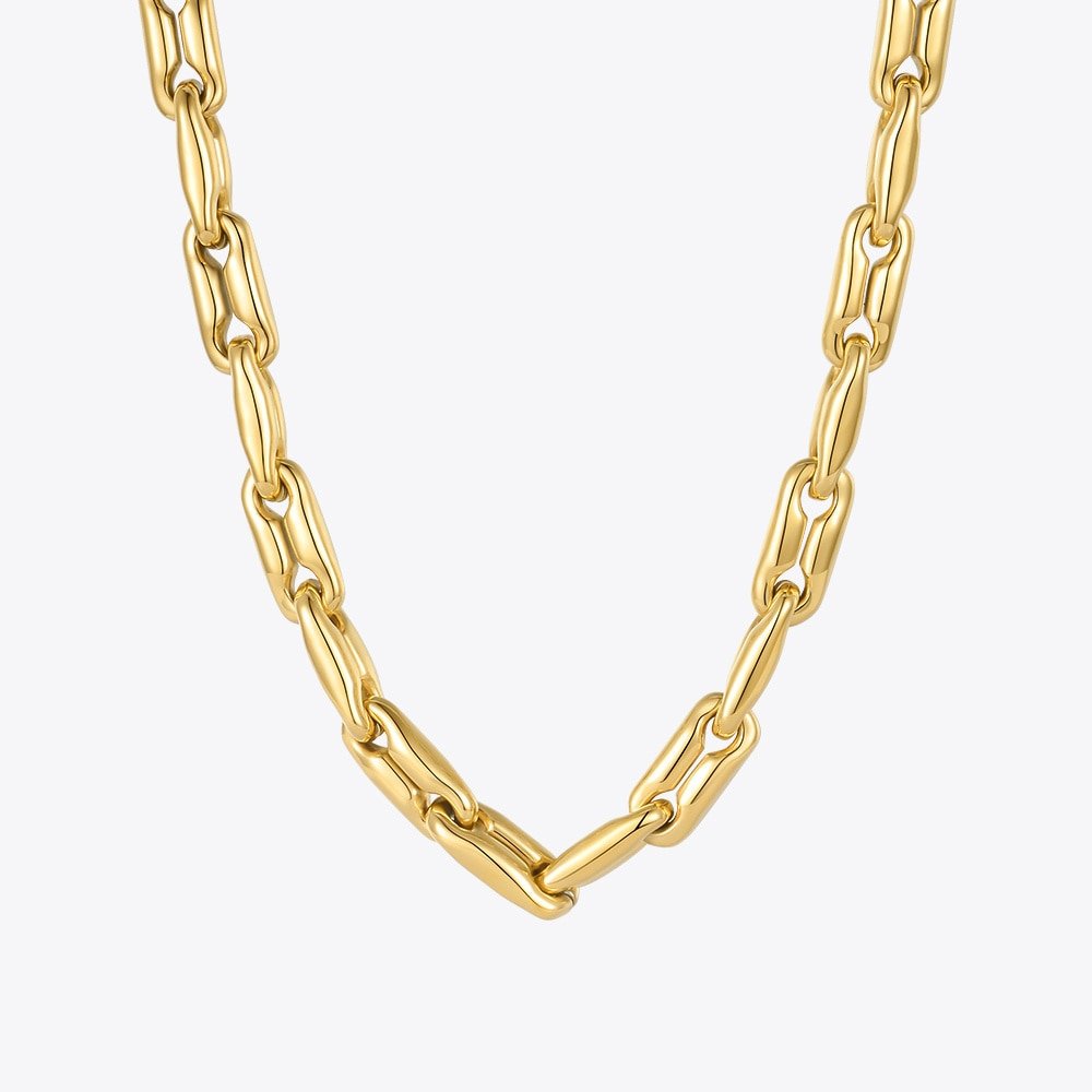 ENFASHION Heavy Chain Chunky Necklace For Women Goth Necklaces 2021 Fashion Jewelry Stainless Steel Gold Color Collier P213209