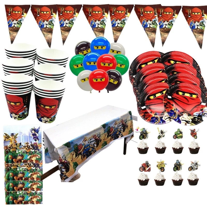 Party supplies 137pcs for 20kids Ninja theme birthday party decoration tableware set, plate+cup+straw+banner+tablecover