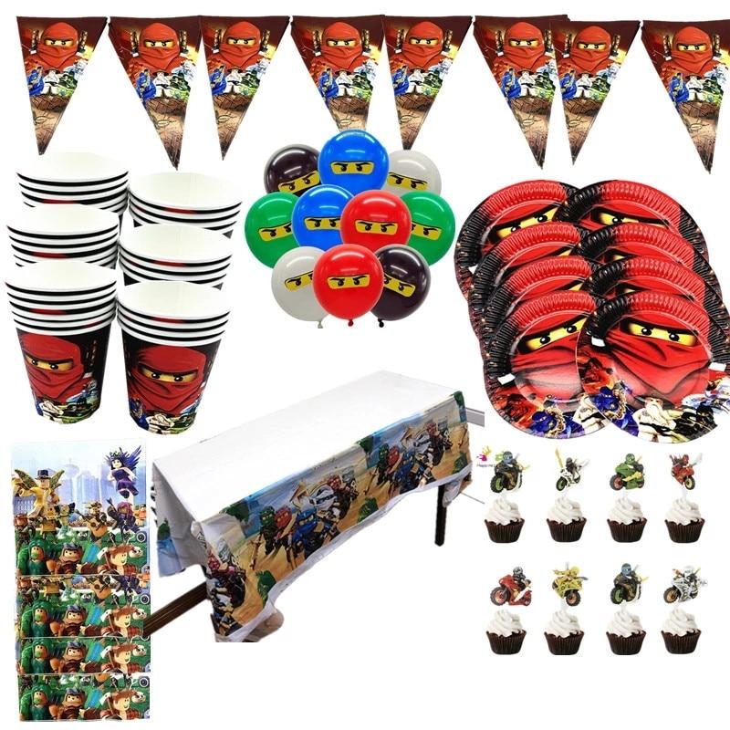 حزب لوازم 137 قطعة ل 20 الاطفال النينجا موضوع عيد ميلاد الحزب الديكور أدوات المائدة مجموعة ، لوحة + كوب + القش + راية + مفرش