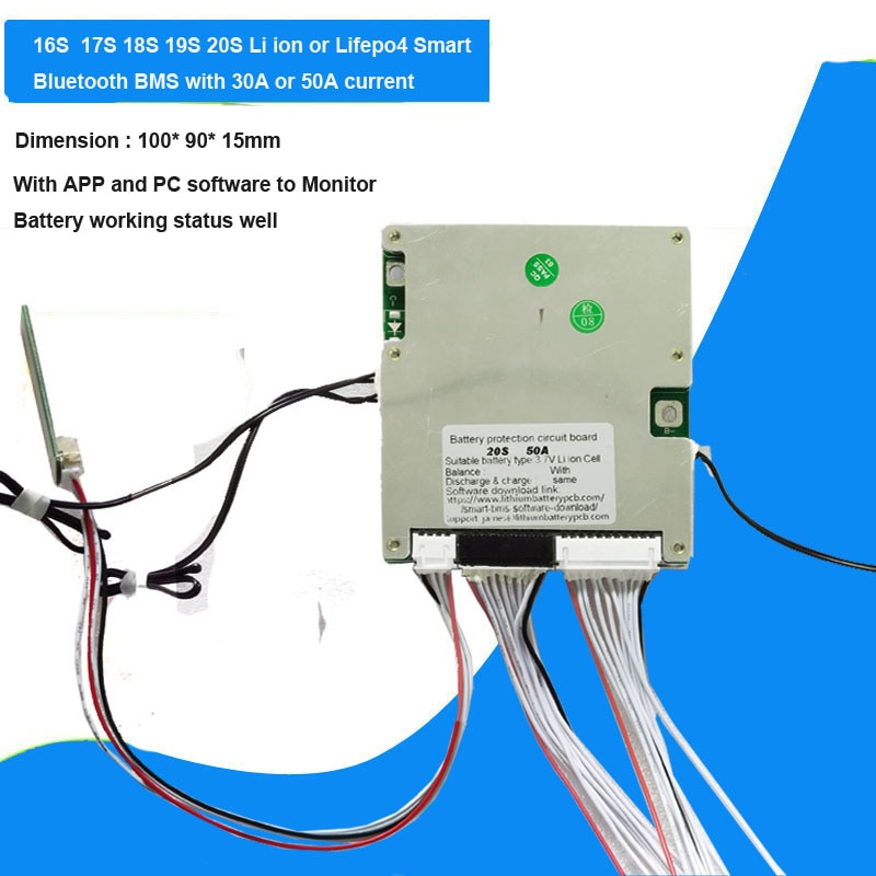16S 17S 18S 19S 20S smart Bluetooth BMS for 48V  60V Lifepo4 and 72V Li ion  Battery with UART Communication