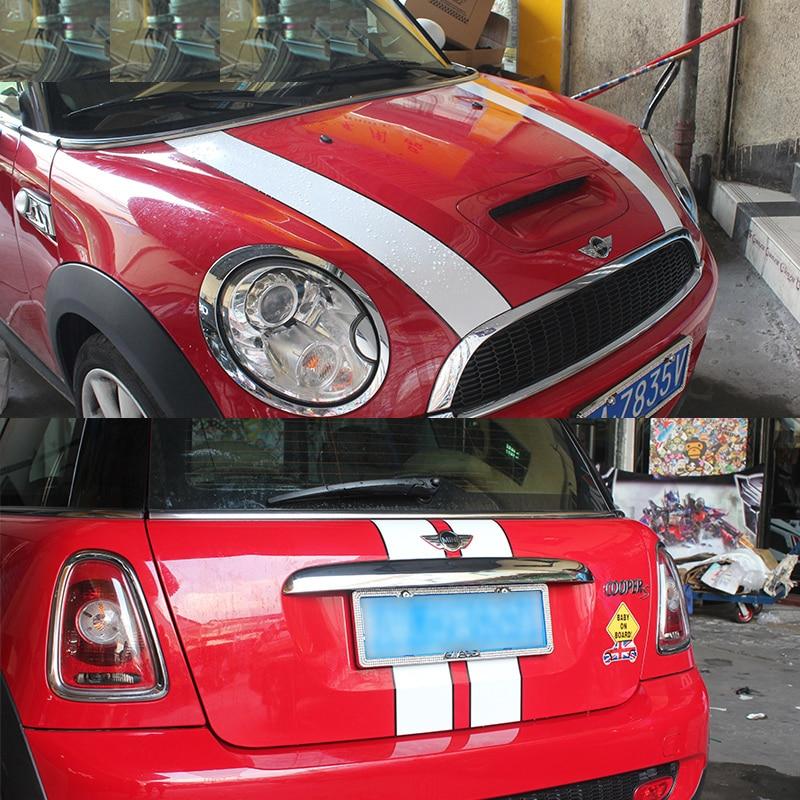 Car Head Cover Rear Trunk Line Vinyl Bonnet Stripe Sticker For MINI Cooper F55 F56 F57 R56 R57 One JCW Accessories
