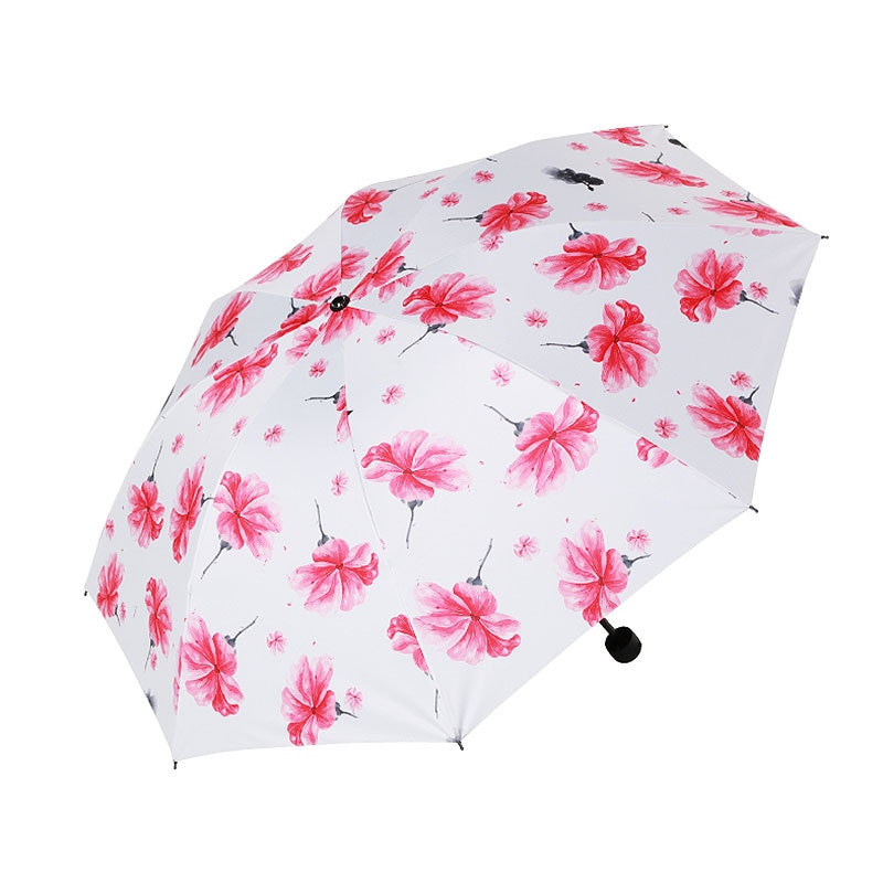 Cinco paraguas Mini plegable para mujeres de viaje Anti-UV a prueba de viento Flor de lluvia Modish mujer sol chica Parasol paraguas de bolsillo