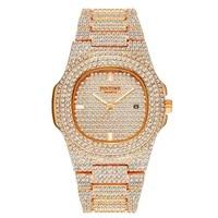 Montre en or pour hommes  marque de luxe  avec calendrier en acier et diamant  Quartz  Date glacee  relogio masculino