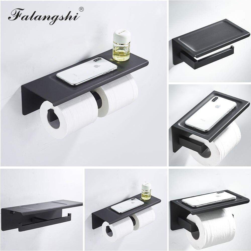 أسود حامل ورق المرحاض 304 الفولاذ المقاوم للصدأ ورقة حامل مع تخزين الهاتف اكسسوارات الحمام رف الهاتف WB8222