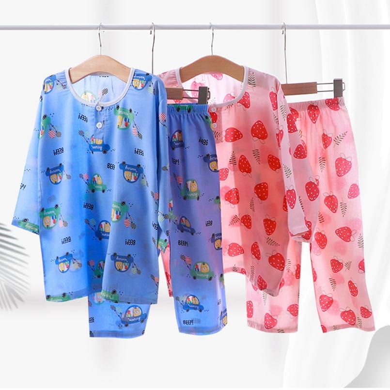 Children's Cotton Pajamas Set Thin Boy Leepwear Robe Girl Three Quarter Kid Cartoon Sleepwear Spring Summer Toddler Baby Outfits