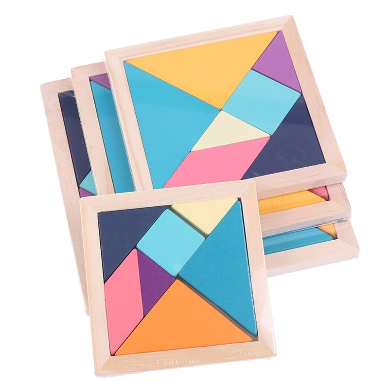 1Pc dzieci drewno rozwój psychiczny Tangram drewniane Puzzle zabawki edukacyjne
