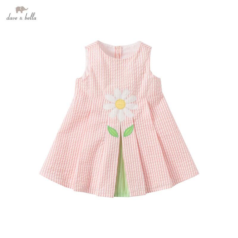 DB18083 ديف بيلا الصيف طفلة لطيف الأزهار مخطط فستان أطفال موضة فستان الحفلات الاطفال الرضع لوليتا الملابس