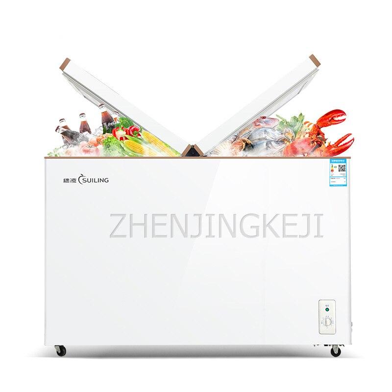 Portão borboleta com congelador comercial, horizontal, alta capacidade, temperatura dupla, mantém o congelador fresco