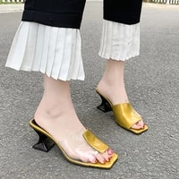 transparent high heels ladies square toe sandals summer shoes ladies transparent high heels sexy jelly high heels slippers mujer