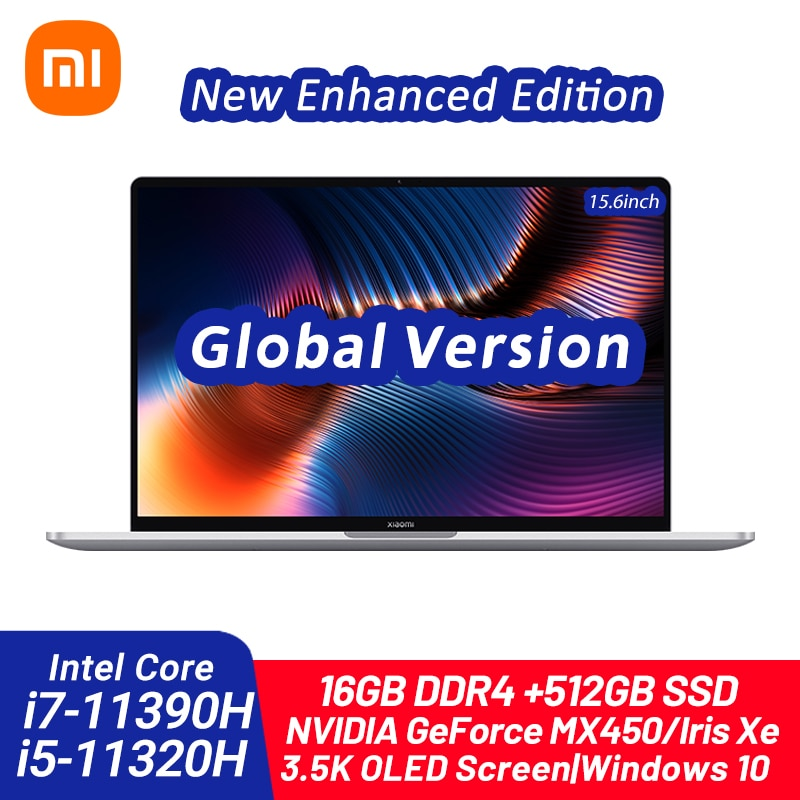 Xiaomi portátil pro 15 edição melhorada intel core i7-11390H/i5-11320H 16gb ddr4 512gb ssd 3.5k oled 15.6 Polegada notebook 100% srgb