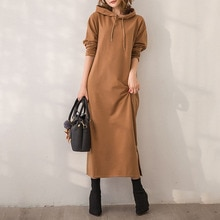 Hot Dresses For Women Winter 2021 New Fashion Temperament Loose Dress With Hooded Collar Simple Khak