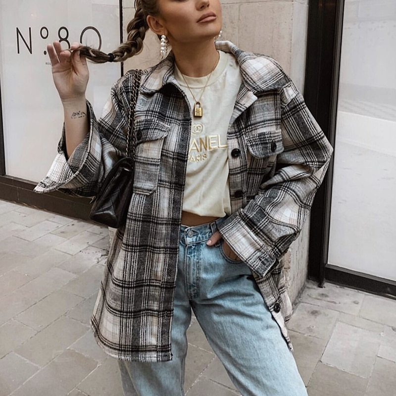 ZXQJ vintage women loose plaid soft thick shirts 2020 fashion ladies streetwear woolen shirt casual female outfits girls chic