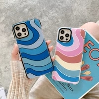 fashion color stripe wave phone case for iphone 11 12 pro max x xr xs max 7 8 plus se 2020 soft shockproof bumper cover coque