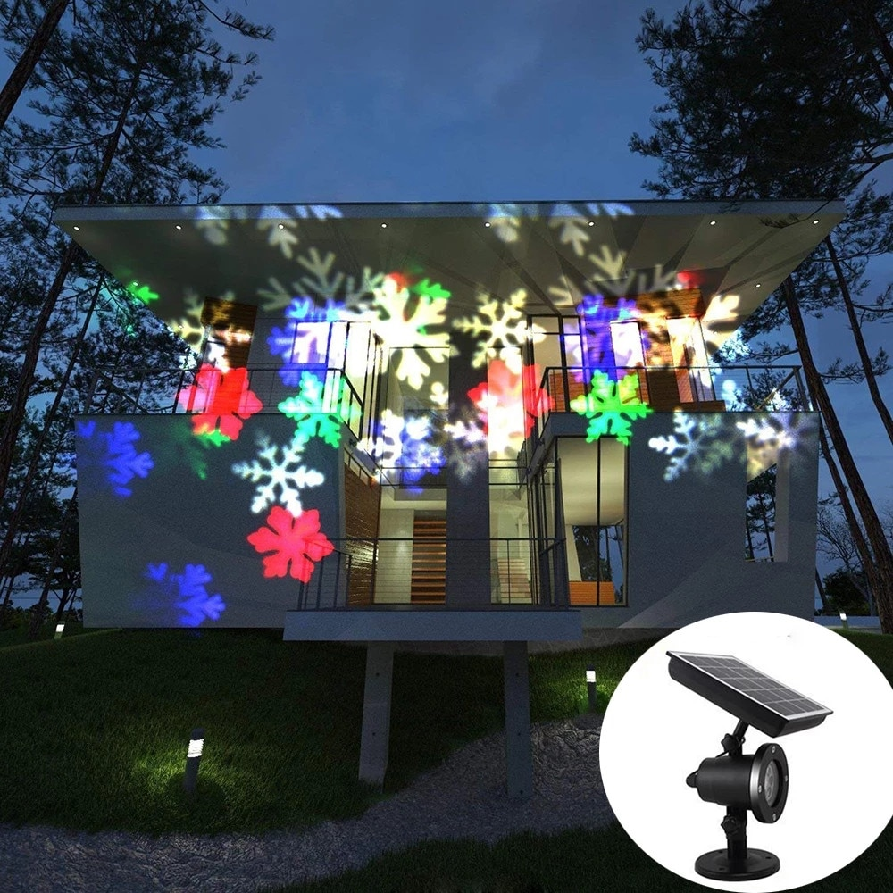 Solar Waterproof Moving Snow Laser Projector Lamps Snowflake LED Stage Light Outdoor Christmas Party Landscape Lawn Garden Lamp kmashi snowflake lamp sparkling landscape projector waterproof decor spotlights garden tree wall christmas holiday lighting eu