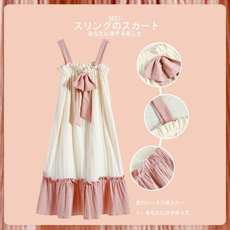 2021 New Style Pajamas Women's Summer Thin Short Sleeve Cotton Lovely Sexy Suspender Nightdress Spring and Autumn Home Clothes
