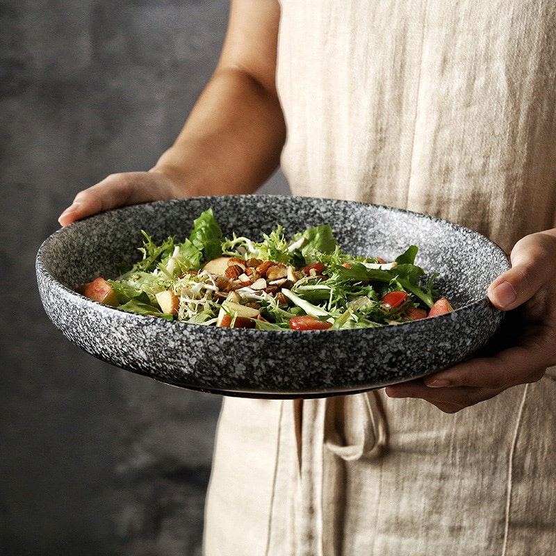 طبق مستدير عميق السيراميك الإبداعية طبق سلطة طبق المنزلية الضحلة لوحة تخدم صينية وجبة خفيفة-لوحة ستيك طبق مسطح الفواكه عموم