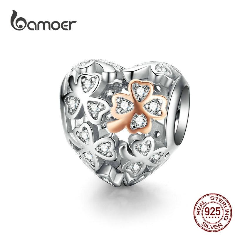 Bamoer trevo sorte coração forma charme para mulheres marca de luxo pulseira 3mm cor ouro rosa 925 prata esterlina jóias scc1248