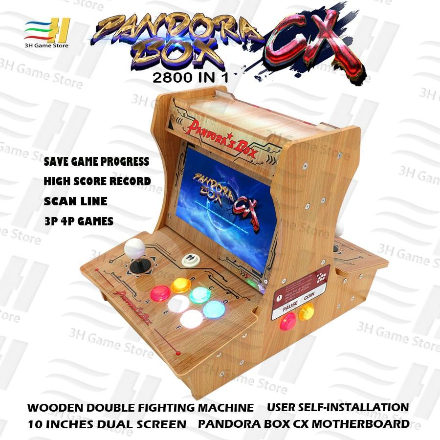 Pandora Box-بارتوب خشبي صغير أركيد ، صندوق CX 2800 في 1 ، تركيب ذاتي ، شاشة مزدوجة 10 بوصة ، حفظ اللعبة ، لعبة 3P 4P