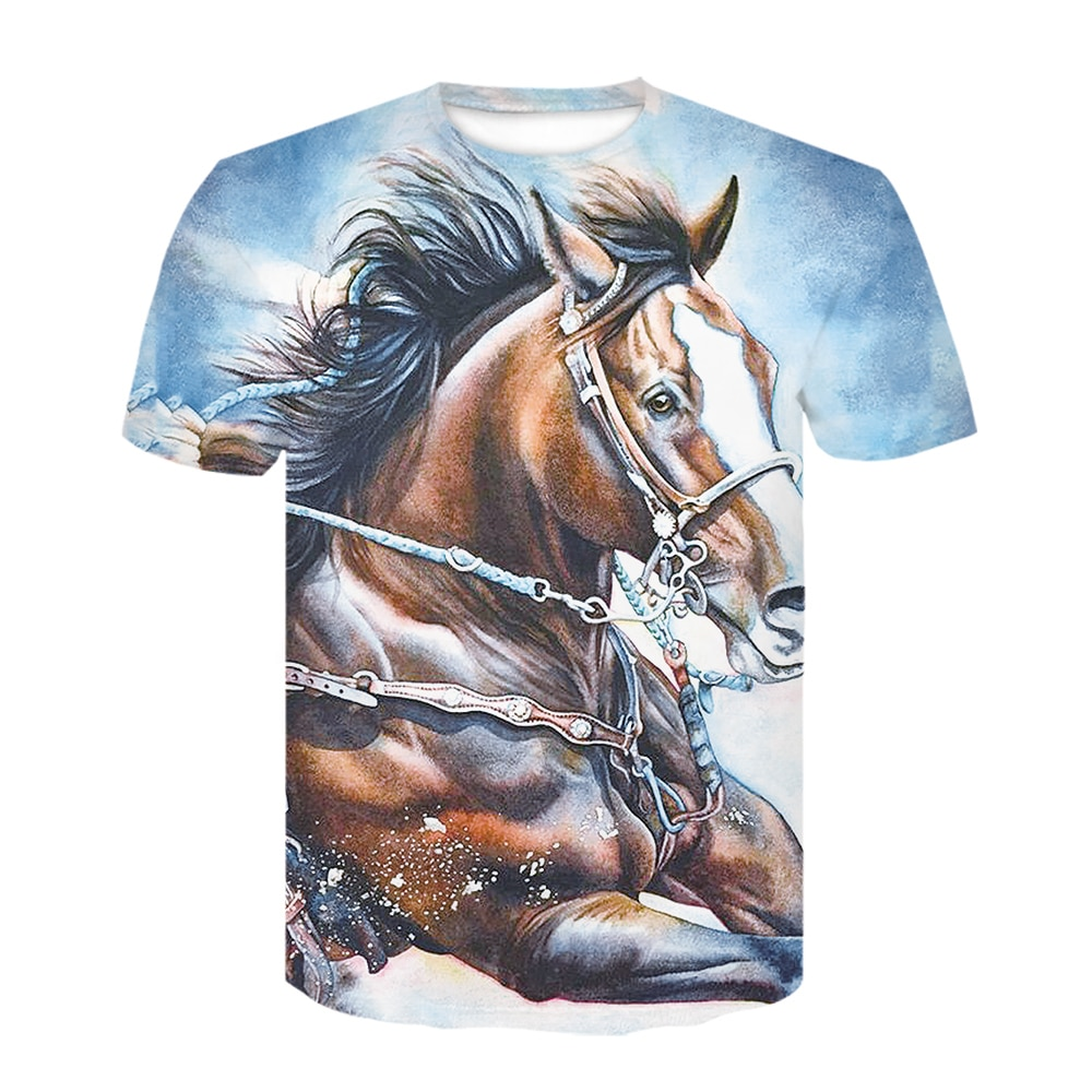 2020 hombres 3d pinted Top Tees hombres de moda verano Camisetas de manga corta diseño único caballo imprimir Top camiseta mayoristas