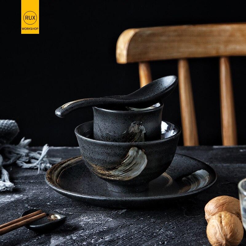 OFICINA de RUX Colher Tigela de Arroz Cerâmica Estilo Japonês Prato Casa Simples Único 5 Conjunto Pedaço Prato Conjunto de Mesa do Restaurante
