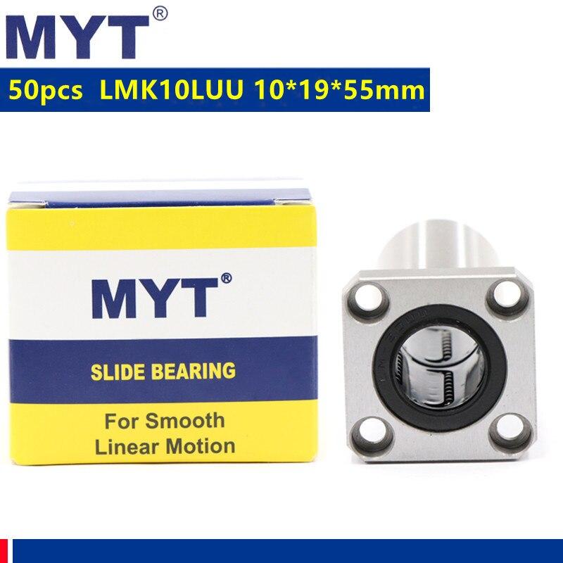 50 قطعة MYT عالية الدقة LMK10LUU شفة طويلة رولمان بلي خطي الحركة 10x19x55 ملليمتر ل 10 مللي متر نك راوتر ثلاثية الأبعاد أجزاء الطابعة