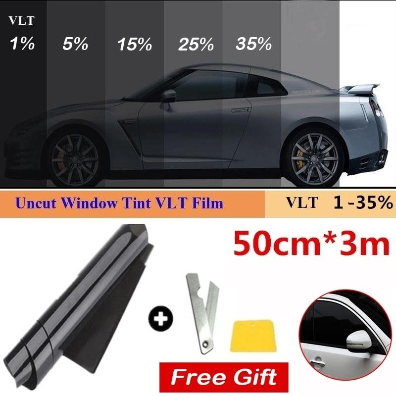 1 Roll 50cm X 3m 1/5/15/25/35 Percent VLT Window Tint Film Glass Sticker Sun Shade Film for Car UV Protector foils Sticker Films