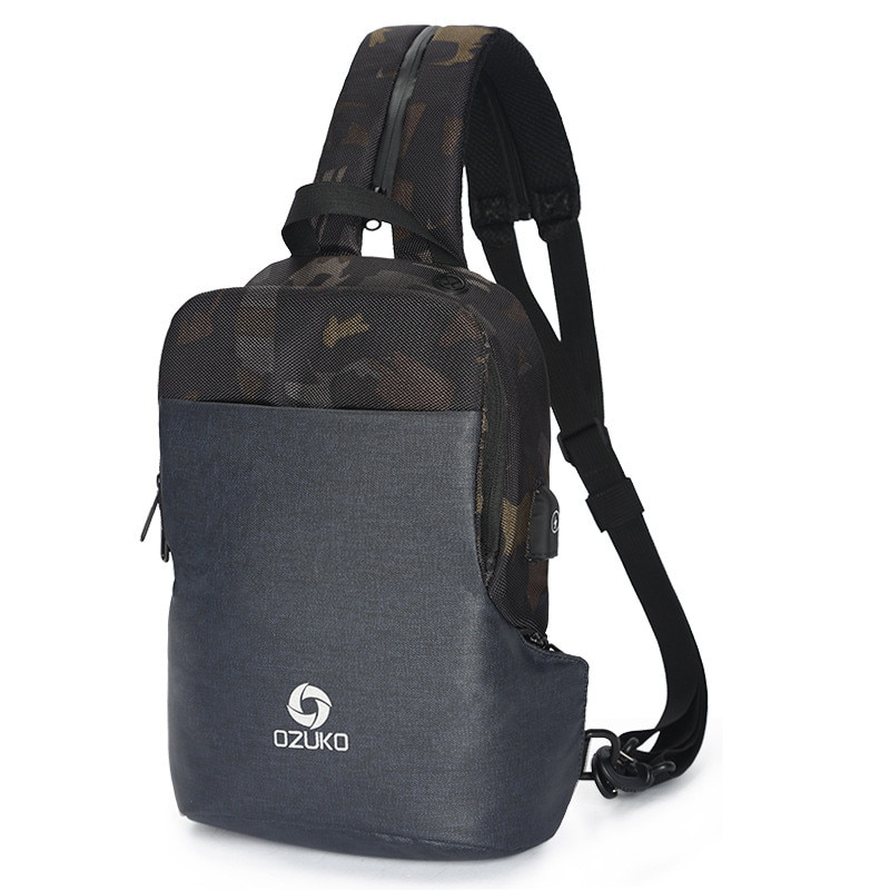 OZUKO Chest Pack Casual Mens Waterproof Crossbody Bags Male USB Charging Shoulder Bag Large Capacity Oxford Messenger  NEW
