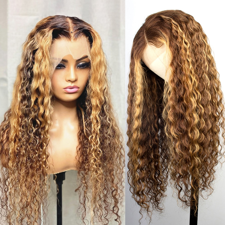 Curly Highlight Wig Human Hair Ombre Colored Brazilian Hair Deep Water Wave Hd Frontal Honey Blonde