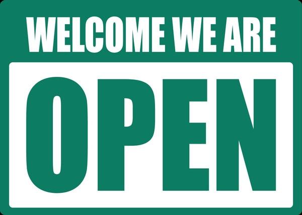 Bienvenido we are abiertos... señal placa de Metal 12x8 pulgadas