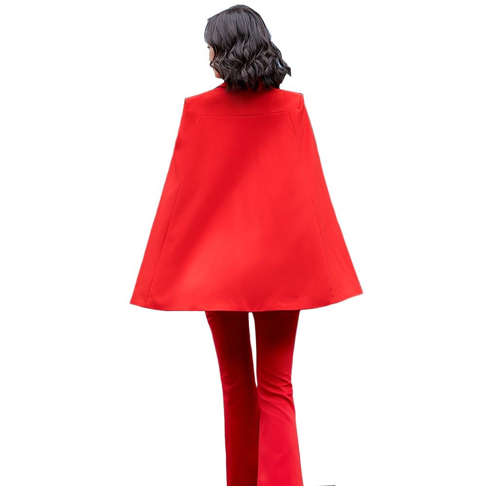 2021 أحدث صيحات الموضة النساء الخفافيش كم بدل رجالي سترة معطف السيدات والسراويل الأحمر المشمش الأسود 2 قطعة مجموعة