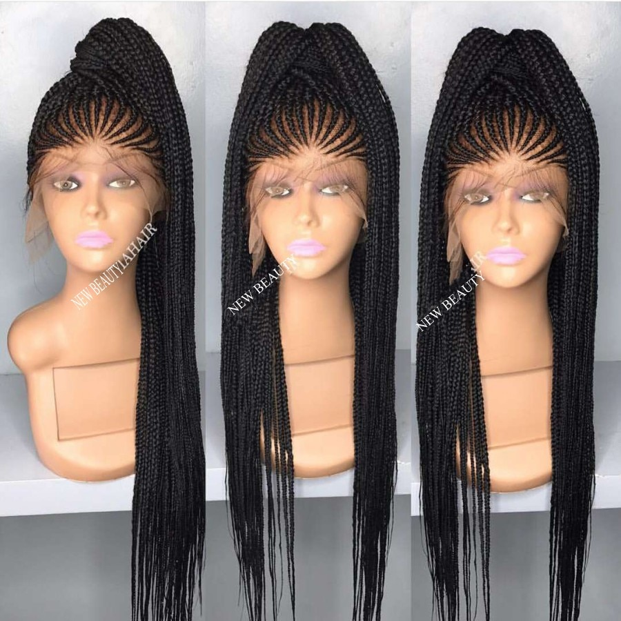 Africa Box Braids Synthetic lace front wig Black Hair Heat Resistant Cornrow Braided Lace Wig With Baby Hair For Black Women